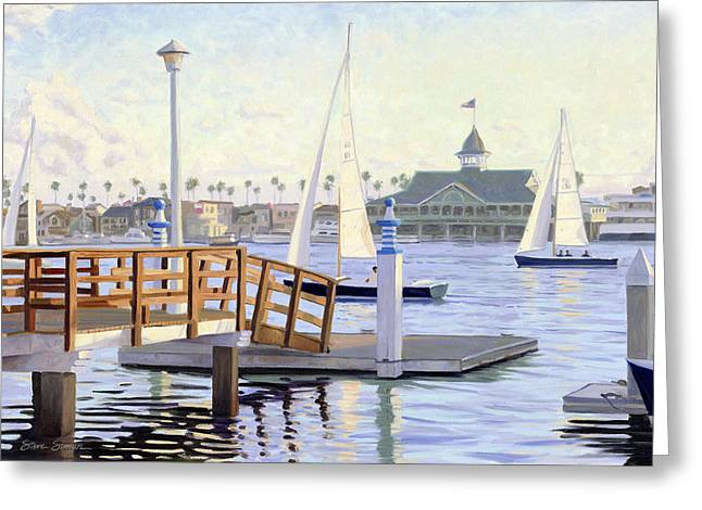 Sailboats In Harbor Greeting Cards - Twilight Sail Greeting Card by Steve Simon