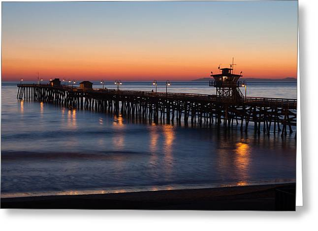 San Clemente Pier Greeting Cards - Twilight San Clemente Pier Greeting Card by Cliff Wassmann