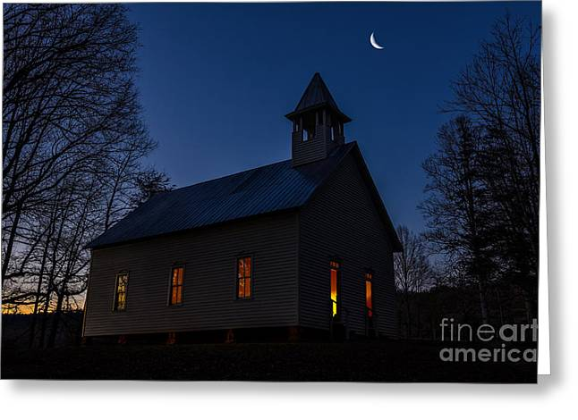 Candle Lit Greeting Cards - Twilight Service Greeting Card by Anthony Heflin
