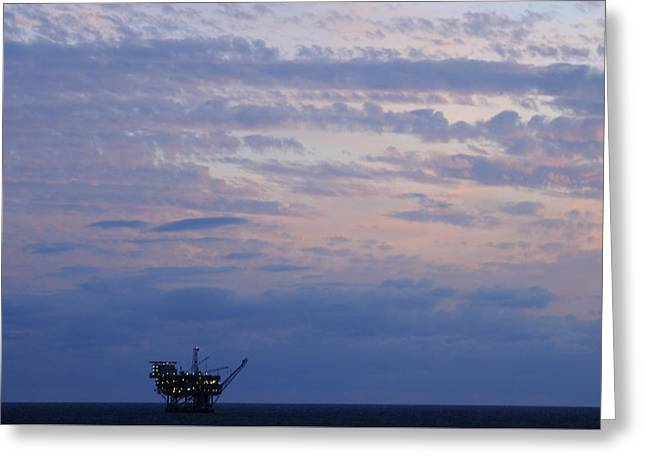Sea Platform Greeting Cards - Twilight sky and oil rig Greeting Card by Bradford Martin