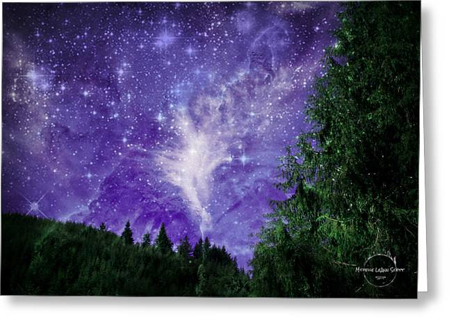 Night Angel Greeting Cards - Twilight Sky In The Realm Of Angels Greeting Card by Absinthe Art By Michelle LeAnn Scott