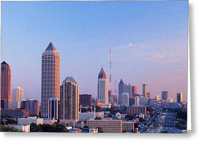 City Buildings Greeting Cards - Twilight, Skyline, Atlanta, Georgia, Usa Greeting Card by Panoramic Images