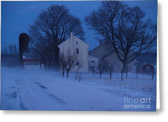 Snow Drifts Greeting Cards - Twilight Snow on Bauman Road Greeting Card by Anna Lisa Yoder