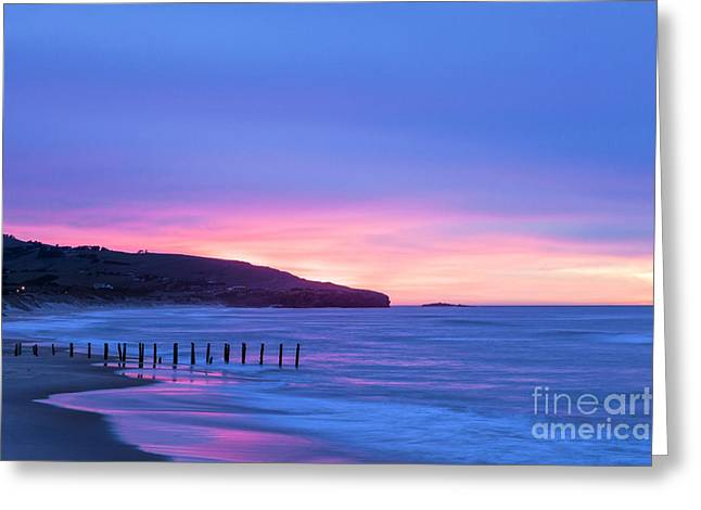 Moody Beach Greeting Cards - Twilight St Clair Beach Dunedin New Zealand Greeting Card by Colin and Linda McKie