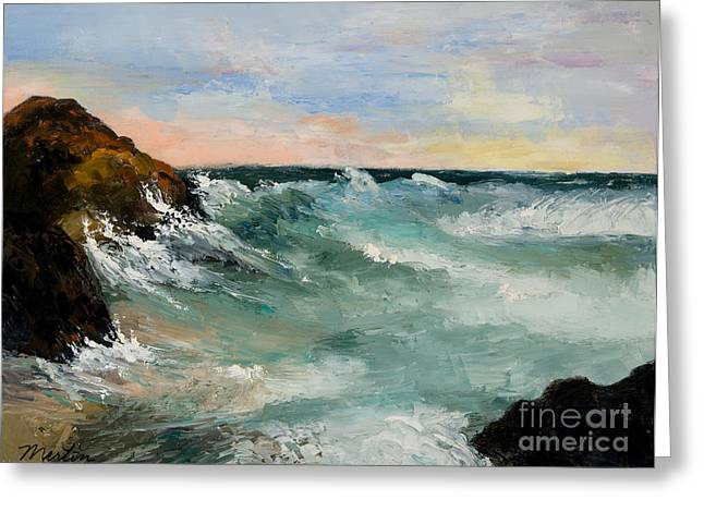 Maine Landscape Paintings Greeting Cards - Twilight Surf Greeting Card by Larry Martin