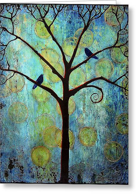 Cute Bird Greeting Cards - Twilight Tree of Life Greeting Card by Blenda Studio