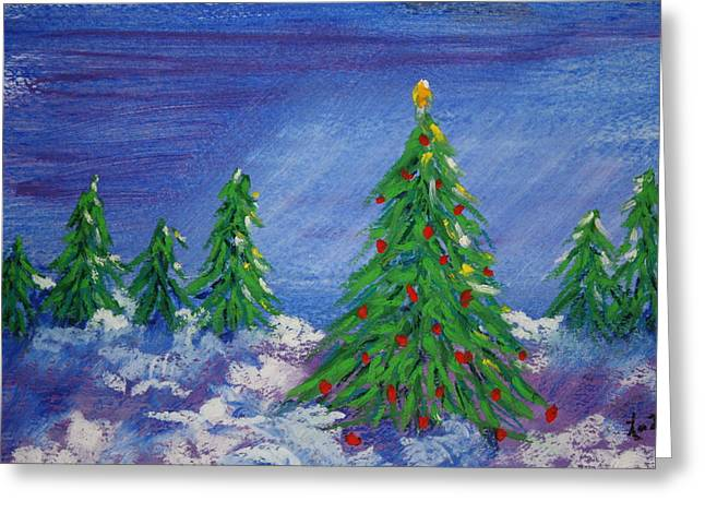 Fir Trees Pastels Greeting Cards - Twilight Trees Greeting Card by Linda Eversole