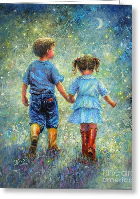 Vickie Wade Paintings Greeting Cards - Twilight Walk Greeting Card by Vickie Wade