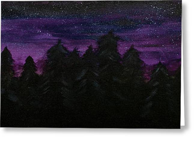 Haze Paintings Greeting Cards - Twilight Woods Greeting Card by Katy  Scott