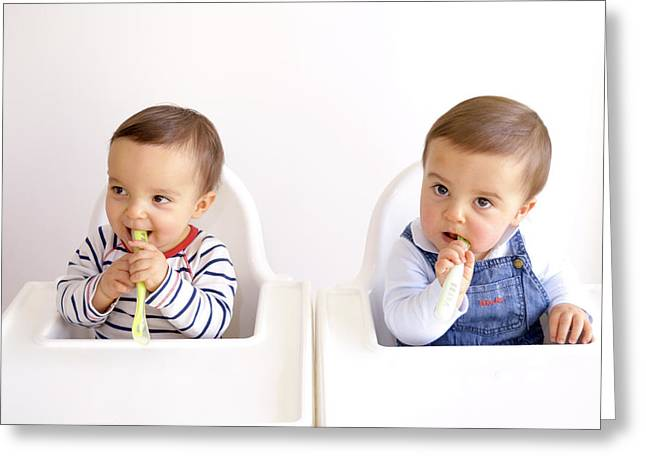 Twin Baby Boys Playing With Spoons Greeting Card by Aj Photo