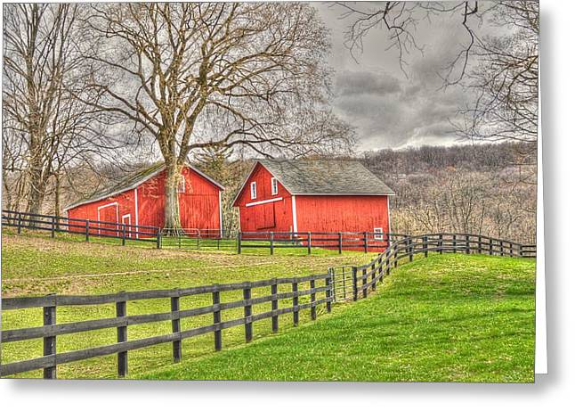 New Greeting Cards - Twin barns in spring Greeting Card by Linda Covino