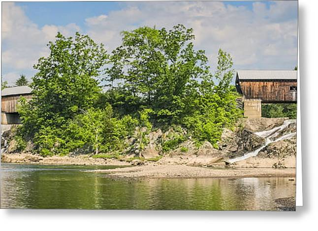 Hydro Greeting Cards - Twin Bridges North Hartland Vermont Greeting Card by Edward Fielding
