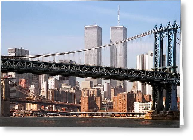 Wall Street Greeting Cards - Twin Bridges Twin Towers - New York Greeting Card by Daniel Hagerman