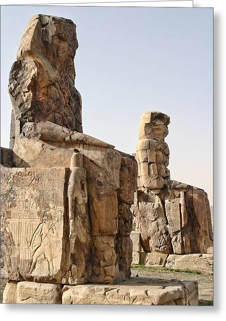 Pharaoh Greeting Cards - Twin Colossi Greeting Card by Linda Phelps