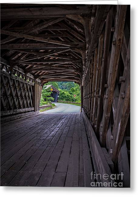 Lattice Greeting Cards - Twin Covered Bridges North Hartland Vermont Greeting Card by Edward Fielding