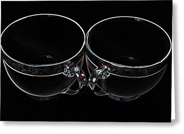 Two Coffee Cups Greeting Cards - Twin Cups Greeting Card by MS  Fineart Creations