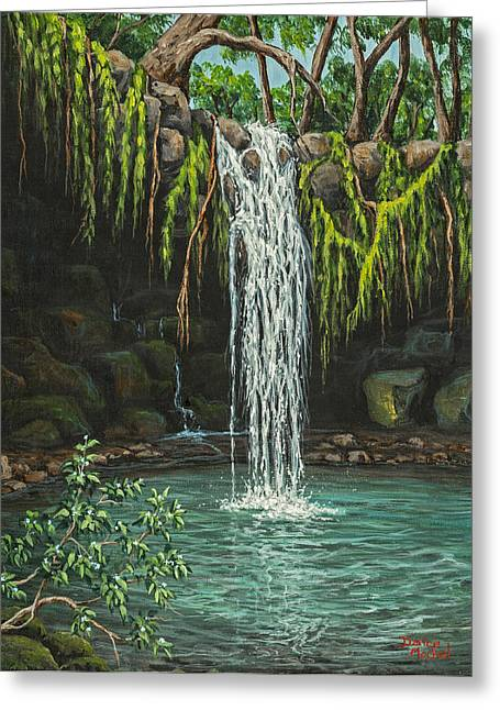 Water In Cave Greeting Cards - Twin Falls Greeting Card by Darice Machel McGuire
