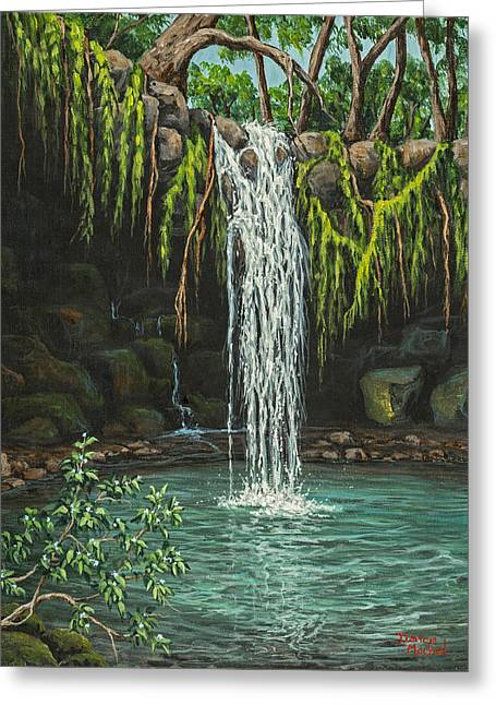 Twin Falls Greeting Card by Darice Machel McGuire