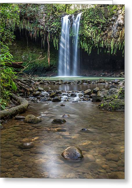 Lush Green Greeting Cards - Twin Falls Greeting Card by Pierre Leclerc Photography