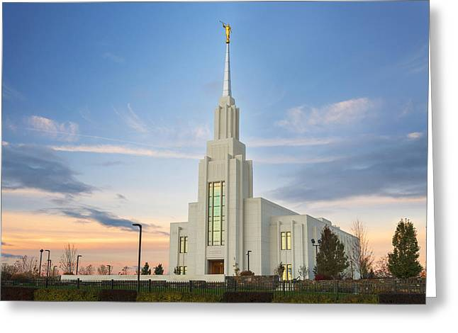 Saint Hope Greeting Cards - Twin Falls Temple Sunrise Greeting Card by Dustin  LeFevre