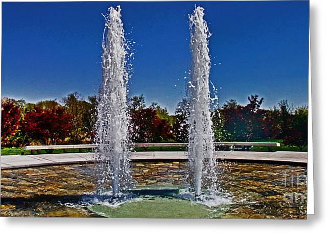 Remembering The Life Greeting Cards - Twin Fountains Greeting Card by Tom Gari Gallery-Three-Photography