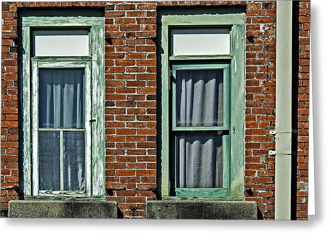 Louisiana Greeting Cards - Twin green windows Greeting Card by Andy Crawford