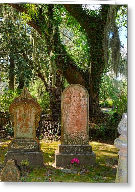 Old Sculptures Greeting Cards - Twin headstones Greeting Card by Linda Covino