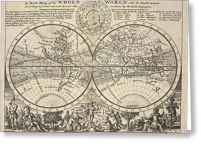Twin-hemisphere World Map Greeting Card by British Library