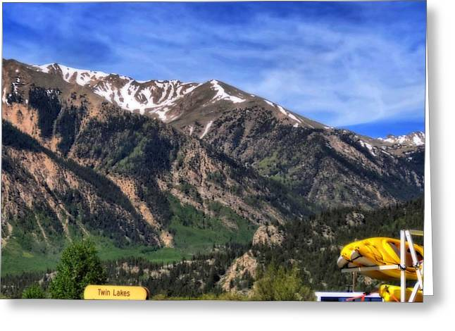 Yellow Canoe Greeting Cards - Twin Lakes Colorado Greeting Card by Dan Sproul