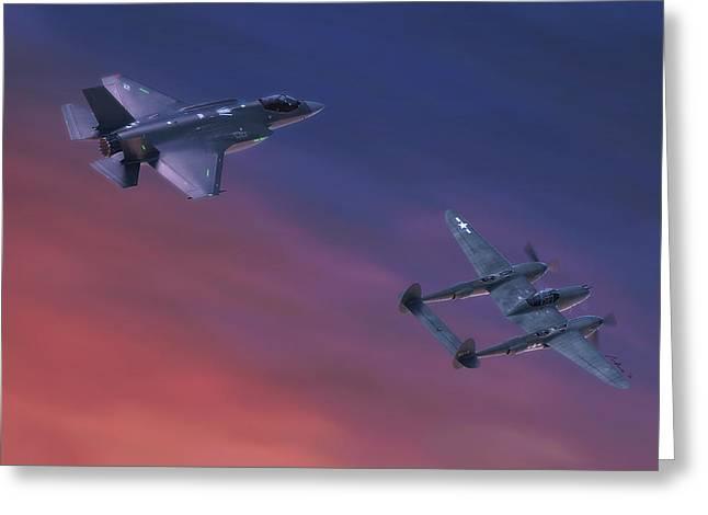 Twin Lightnings Greeting Card by Hangar B Productions