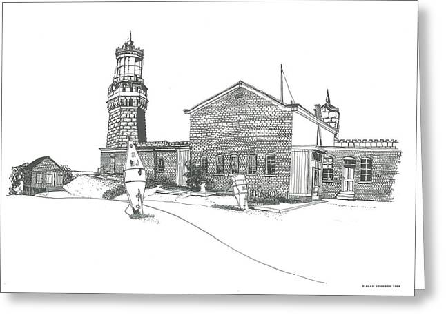 Atlantic Beaches Drawings Greeting Cards - Twin Lights Atlantic Highlands Greeting Card by Alan Johnson