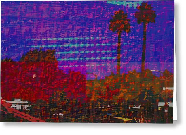 Twin Palms Purple Haze Greeting Card by J Burns
