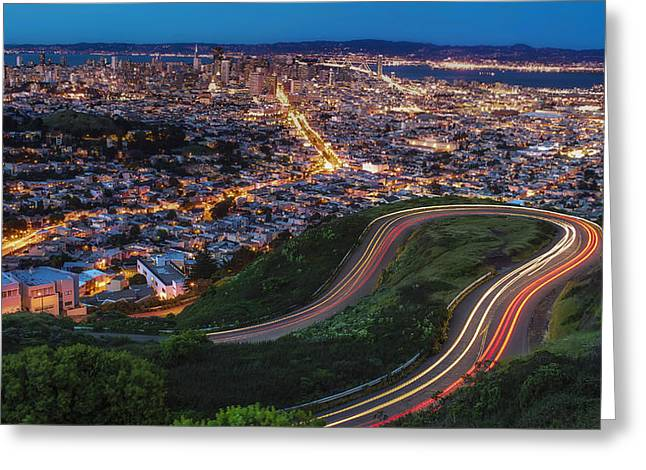 San Francisco Bay Bridge Greeting Cards - Twin Peaks Bender Greeting Card by Sean Foster