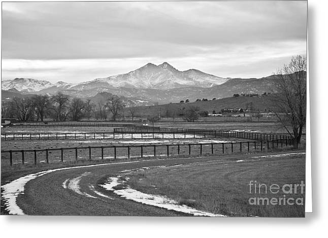 Twin Peaks Greeting Cards - Twin Peaks Mt Meeker and Longs Peak BW Country Greeting Card by James BO  Insogna