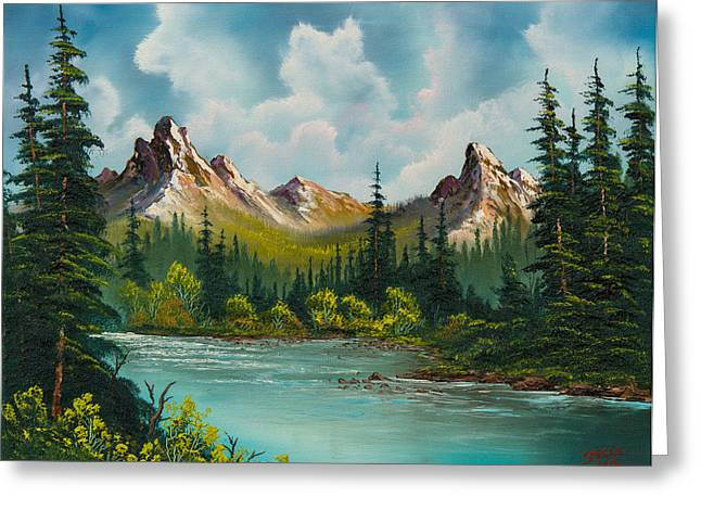 Bob Ross Paintings Greeting Cards - Twin Peaks River Greeting Card by C Steele