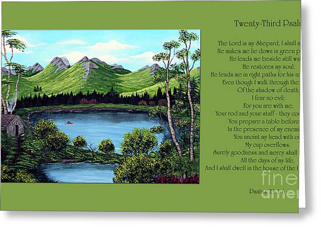Barbara Griffin Greeting Cards - Twin Ponds and 23 Psalm on Green Horizontal Greeting Card by Barbara Griffin