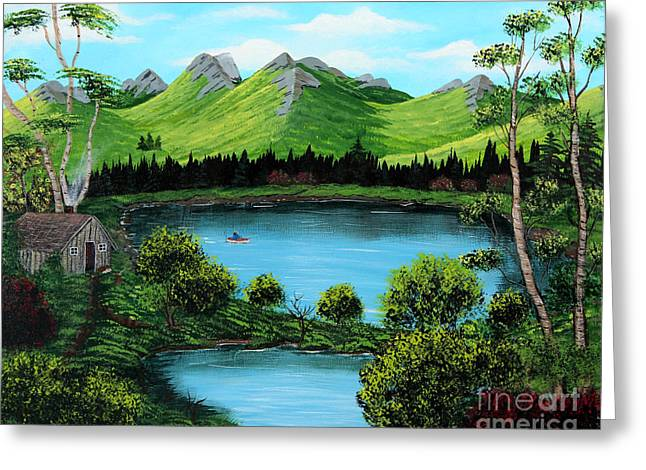Green Barbara Griffin Art Greeting Cards - Twin Ponds Greeting Card by Barbara Griffin