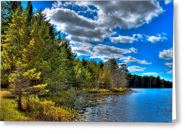 Tranquil Pond Greeting Cards - Twin Ponds - Old Forge New York Greeting Card by David Patterson