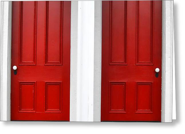 Traditional Door Greeting Cards - Twin Red Doors Greeting Card by Olivier Le Queinec