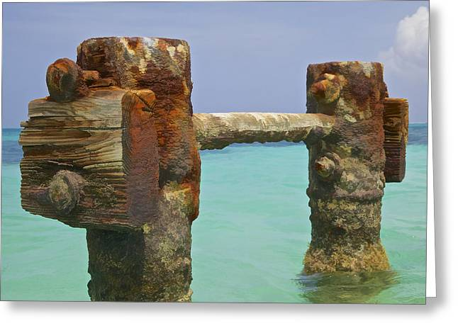Reddish Flaking Iron Oxide Greeting Cards - Twin Rusted Dock Piers of the Caribbean Greeting Card by David Letts
