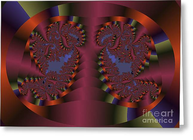 Twin Swans Fractal Abstract Greeting Card by Darleen Stry