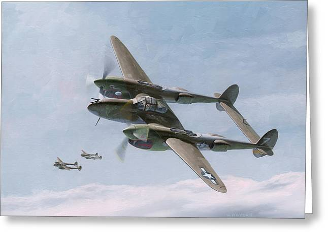 P-38 Greeting Cards - Twin-Tailed Dragons Greeting Card by Wade Meyers