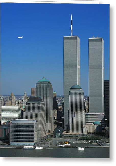Wtc 11 Greeting Cards - Twin Towers August 2001 Greeting Card by Jeffrey Rosner