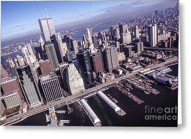 Kim Photographs Greeting Cards - Twin Towers between East- and Hudson River Greeting Card by Kim Lessel