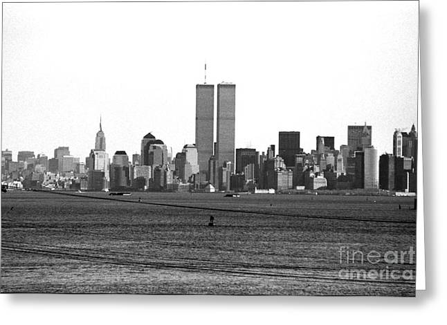 Twin Towers Nyc Greeting Cards - Twin Towers from Staten Island Greeting Card by John Rizzuto