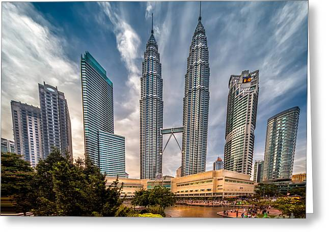 People Digital Greeting Cards - Twin Towers KL Greeting Card by Adrian Evans