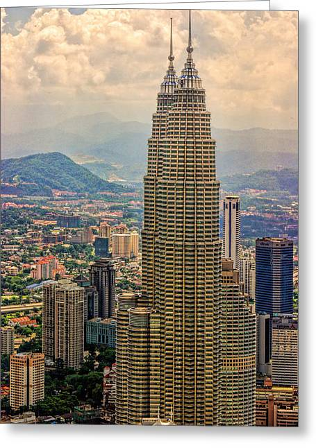 Nountains Greeting Cards - Twin Towers of Kuala Lampor Greeting Card by Linda Phelps