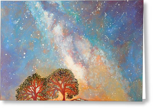 Outer Space Paintings Greeting Cards - Twin Trees and the Milky Way Greeting Card by Cedar Lee