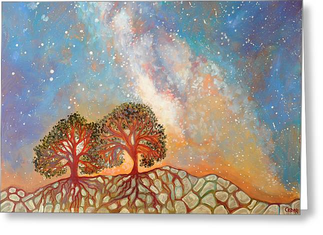 Life-cosmic Dance Greeting Cards - Twin Trees and the Milky Way Greeting Card by Cedar Lee