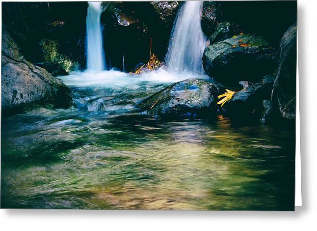 Becky Greeting Cards - Twin Waterfall Greeting Card by Stylianos Kleanthous